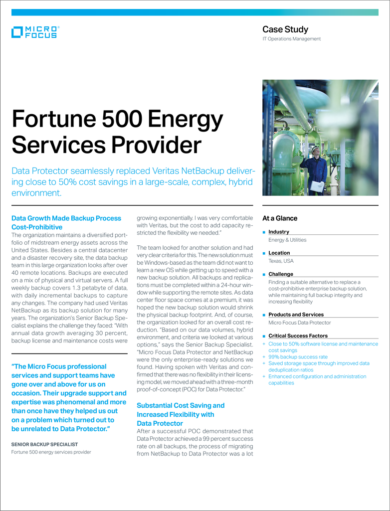 Data Protector Delivers Cost Savings to Fortune 500 Energy Services Provider