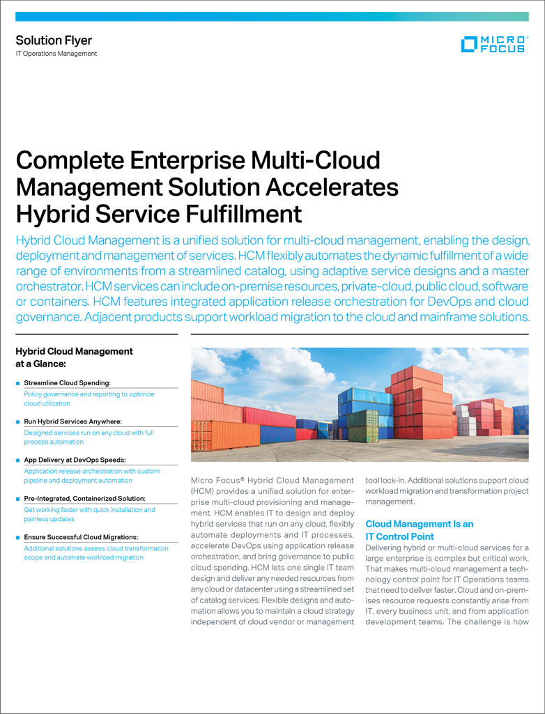 Complete Enterprise Multi-Cloud Management Solution Accelerates Hybrid Service Fulfillment