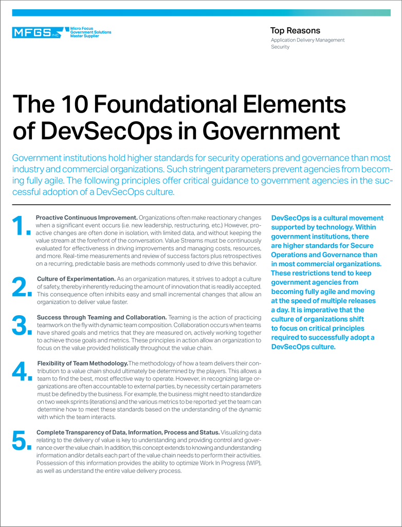 The 10 Foundational Elements of DevSecOps in Government preview