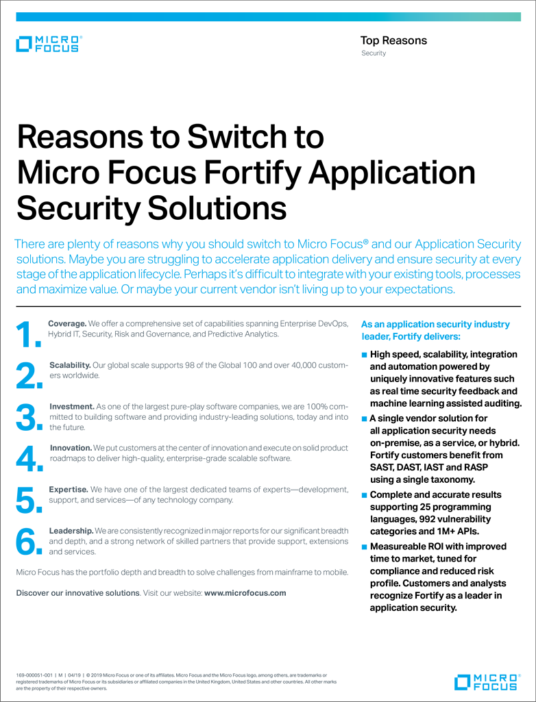6 Reasons to Switch to Micro Focus Fortify Application Security Solutions preview