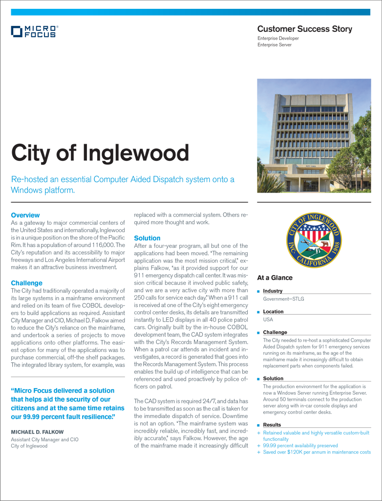 City of Inglewood Re-hosted an Essential Computer Aided Dispatch System on to Windows Platform preview