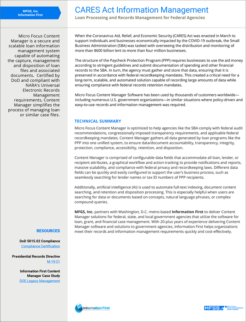 CARES Act Information Management: Loan Processing and Records Management for Federal Agencies preview