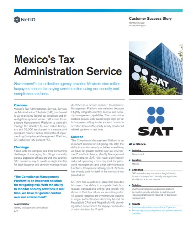 Compliance Management Platform Mitigates Risk for Mexico's Tax Administration Service preview
