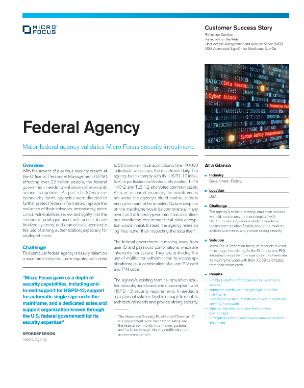 Major Federal Agency Validates Micro Focus Security Investment preview