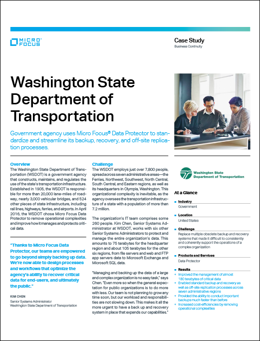 Washington State DoT Uses Micro Focus Data Protector to Standardize and Streamline Backup and Recovery preview