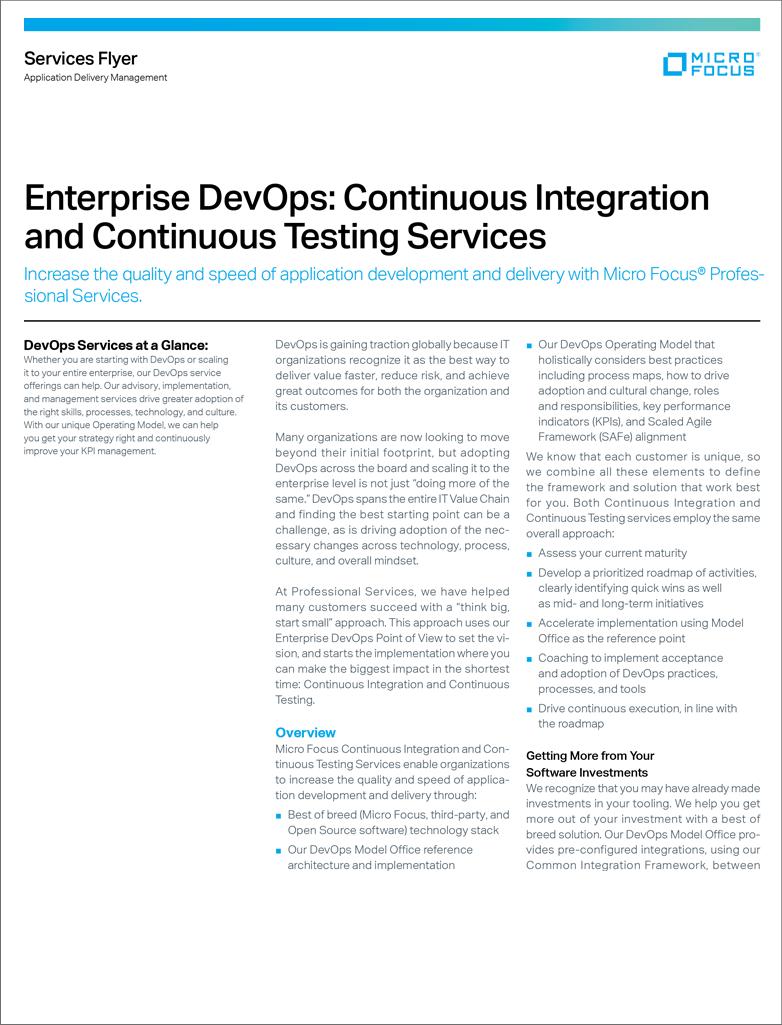Enterprise DevOps: Continuous Integration and Continuous Testing Services preview