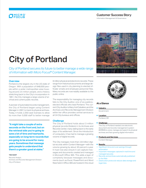 City of Portland Secures its Future with Micro Focus® Content Manager preview