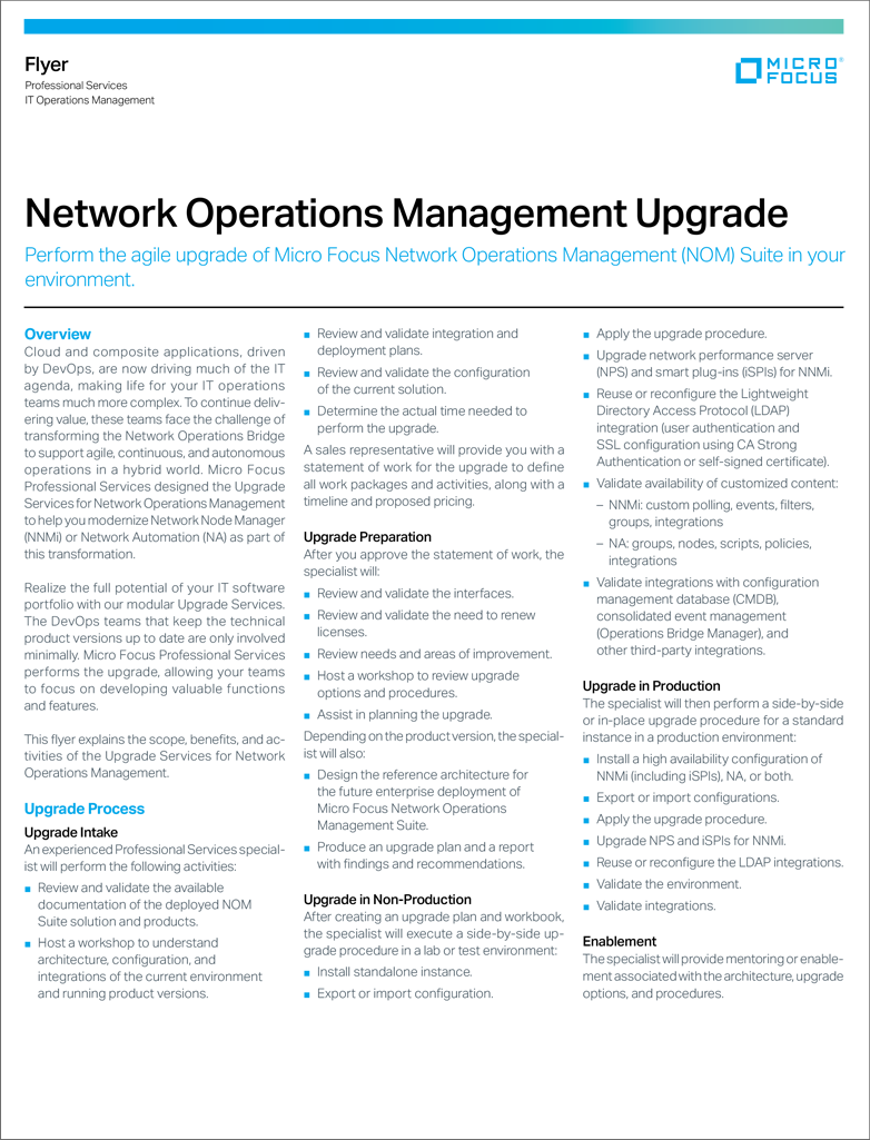 Network Operations Management Upgrade