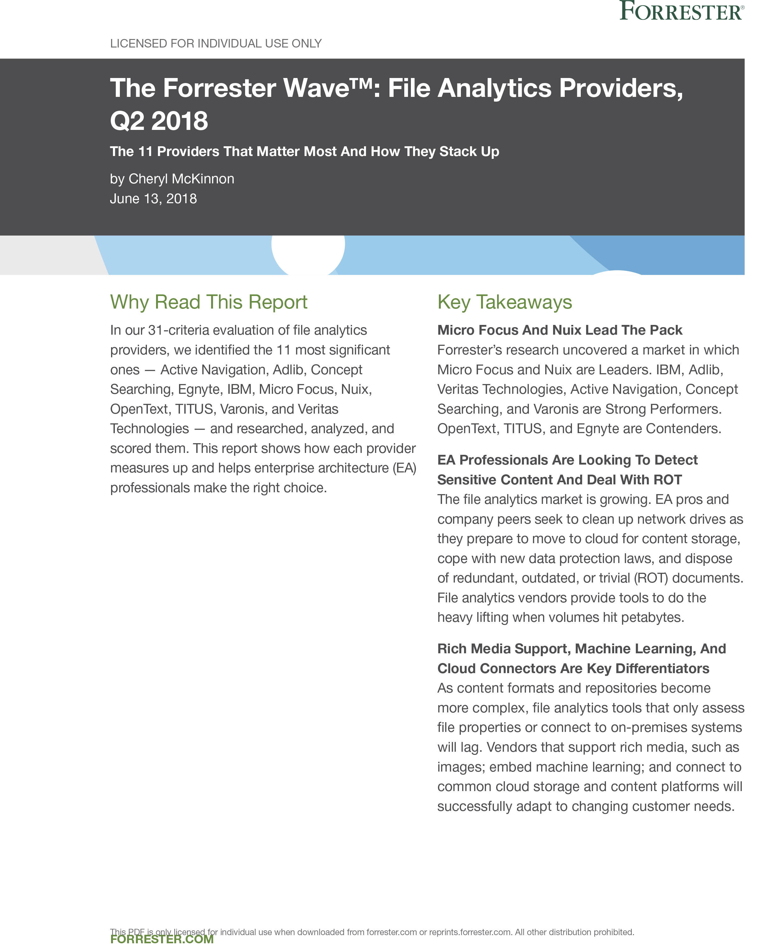 The Forrester Wave™ File Analytics Providers, Q2 2018 preview