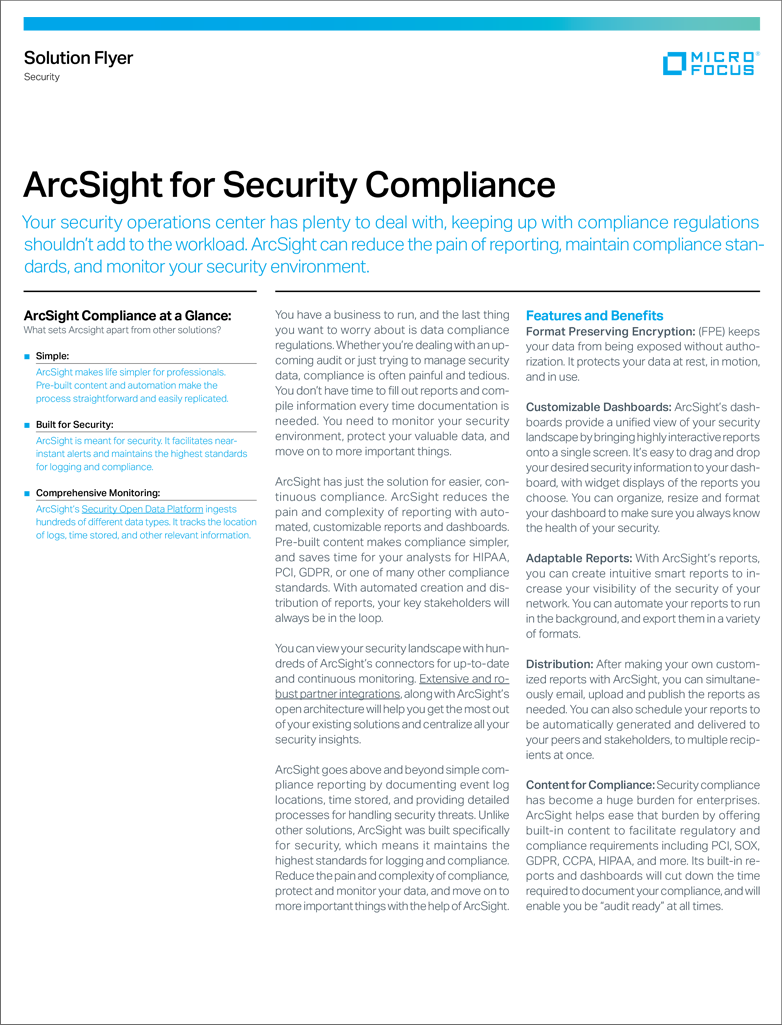 ArcSight for Security Compliance preview