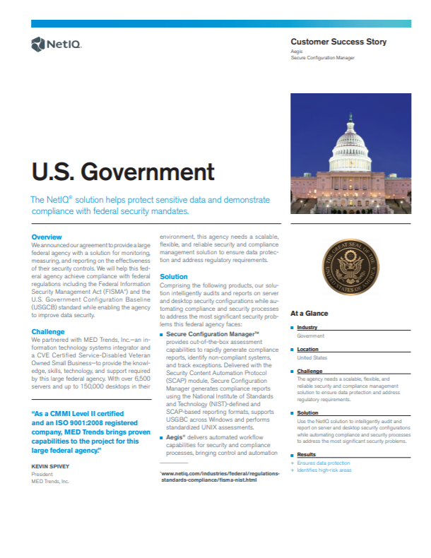 The NetIQ Solution Helps Protect Sensitive Data and Demonstrate FISMA Compliance preview