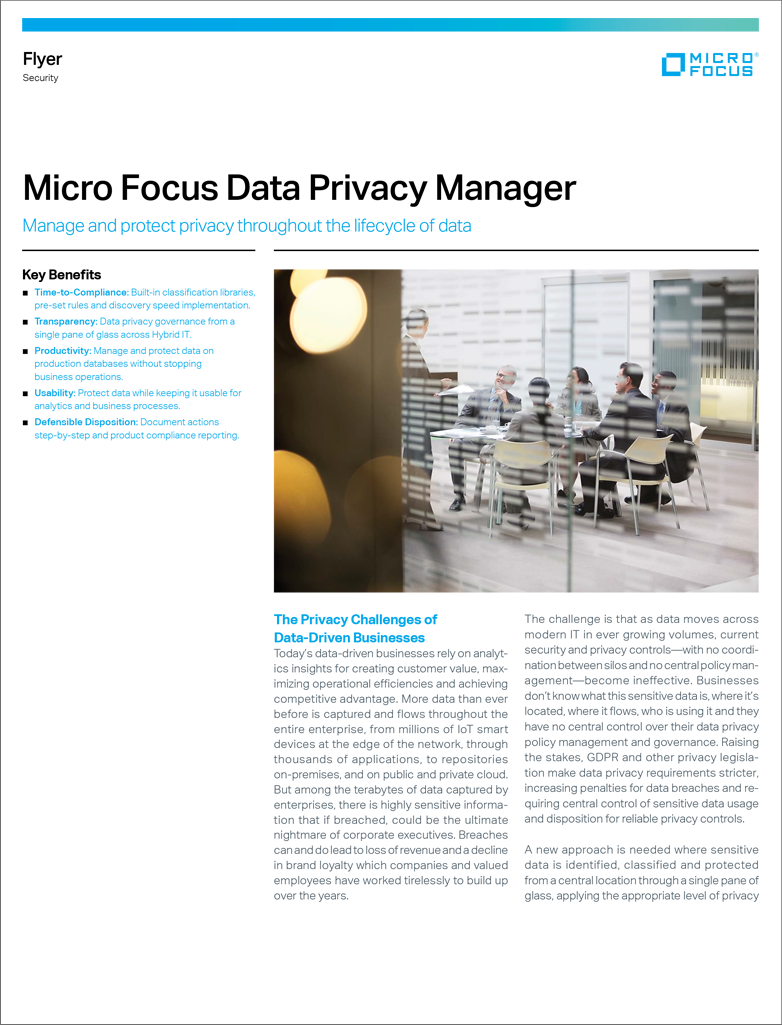 Micro Focus Data Privacy Manager preview