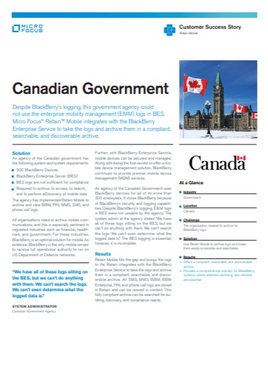Micro Focus Retain Mobile Integrates with Blackberry for Canadian Government Agency EMM preview