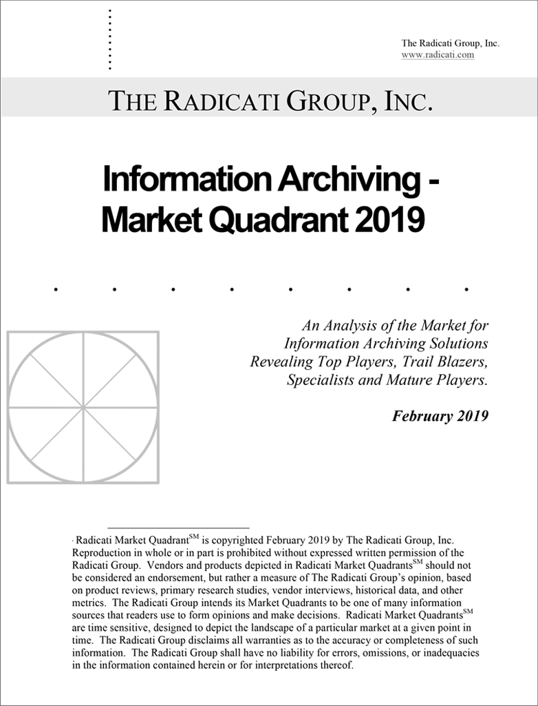 The Radicati Group Information Archiving - Market Quadrant 2019 preview image