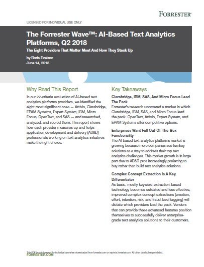 The Forrester Wave™ Al-Based Text Analytics Platforms, Q2 2018 preview
