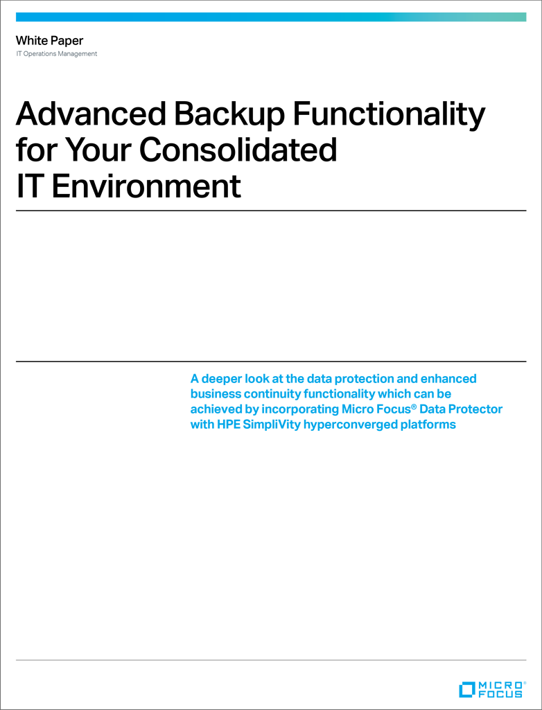 Advanced Backup Functionality Consolidated IT Environment preview image