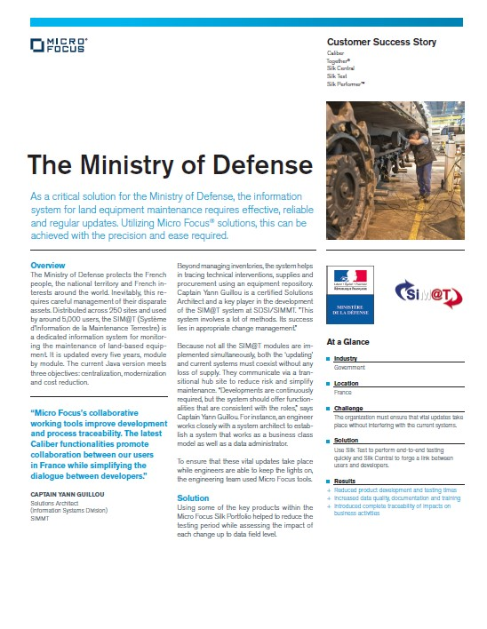 Micro Focus Silk Portfolio Helps Reduce the Testing Period for France's Ministry of Defense preview