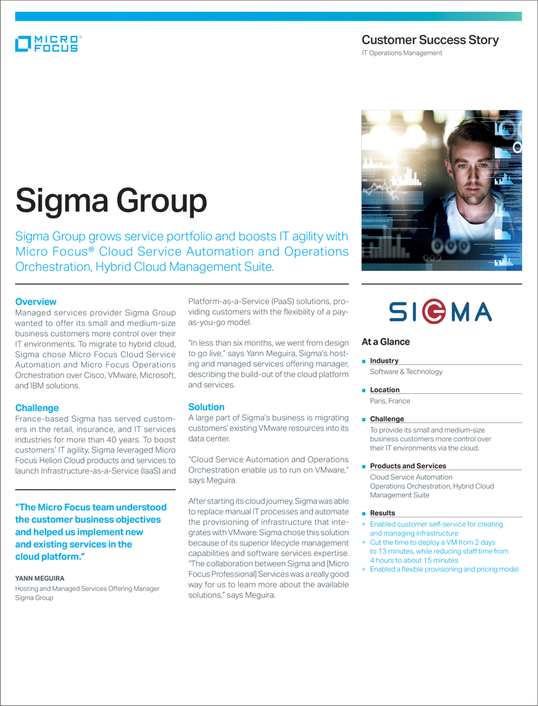 Sigma Group IaaS PaaS IT Agility Micro Focus